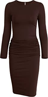 Missufe Women's Long Sleeve Ruched Casual Sundress Midi...