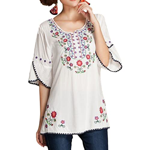 c68ffd8aef8e5f ASHER FASHION Girls Embroidered Peasant Tops Bohemian Blouses Tunic