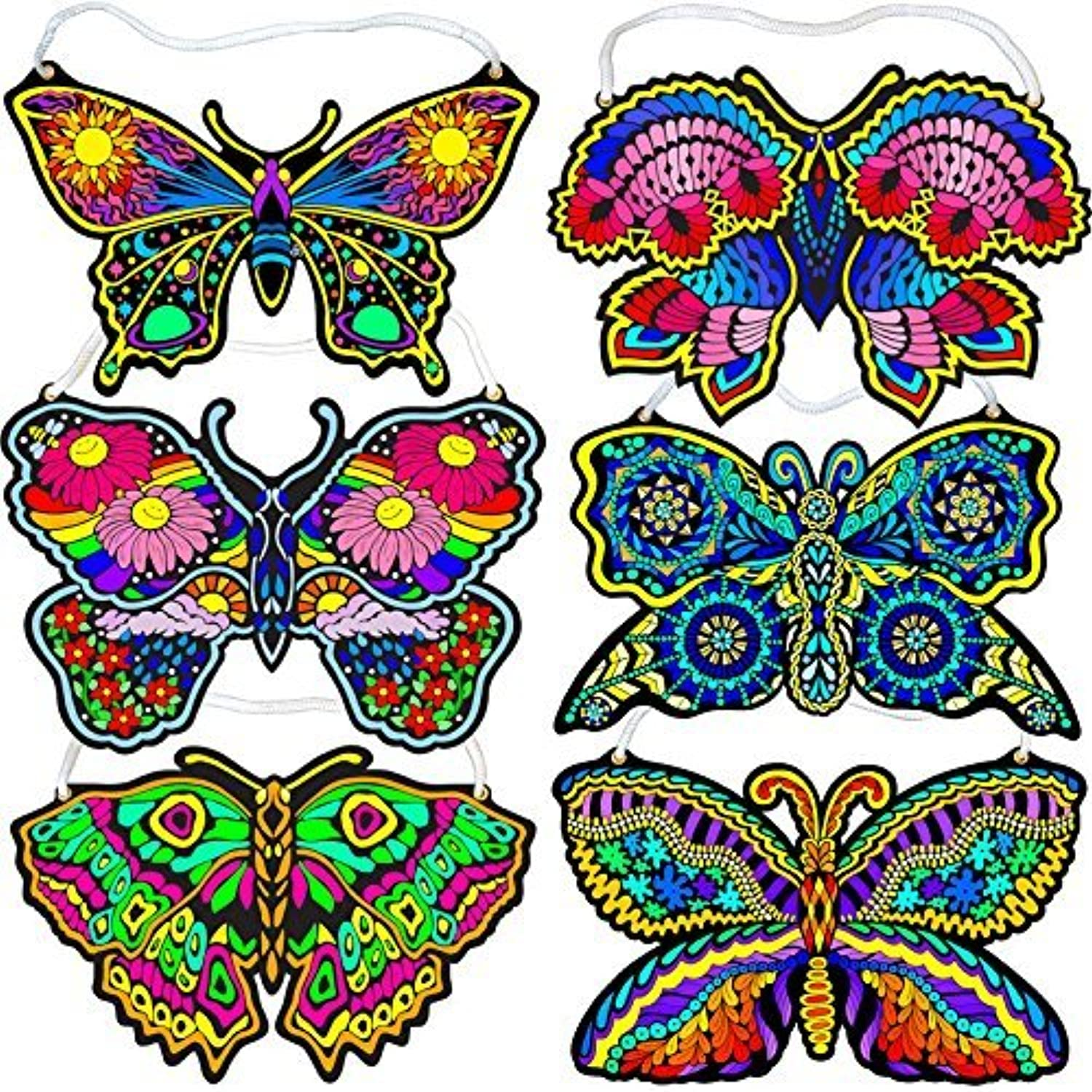 Fuzzy Velvet Hanging Butterflies (Beautiful coloring Designs) by Stuff2color