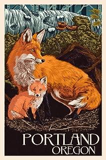 Portland, Oregon - Fox and Kit - Letterpress (12x18 Art Print, Wall Decor Travel Poster)