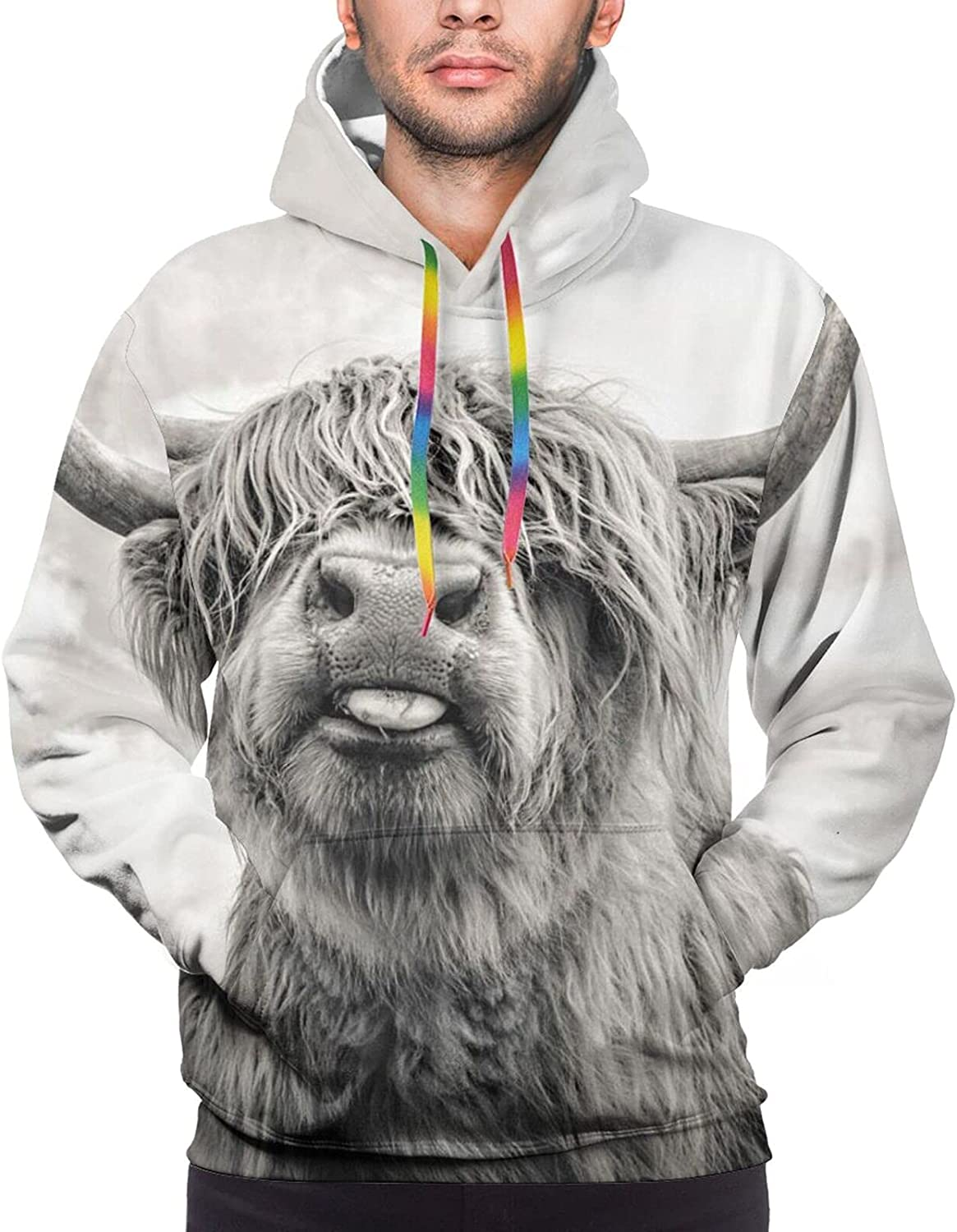 Hoodie For Mens Womens Teens Highland Cow Pullover Hooded Sports Sweatshirt