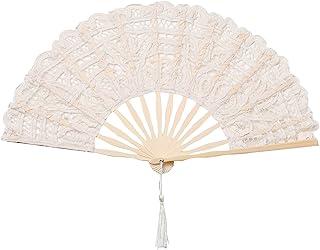 ArtiDeco Abanico de Encaje Abanico de Mano Plegable Vintage con Costillas de Bambú para Decoración de Fiesta Vintage Acces...