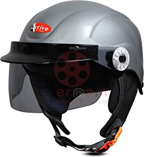 ACTIVE SOGO BIKE AND SCOOTY HALF FACE HELMET FOR MEN AND WOMEN (Medium, GREY)