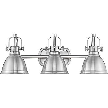 Emliviar 3-Light Bathroom Vanity Light Fixture, Brushed Nickel Finish with Metal Shade, 4054S