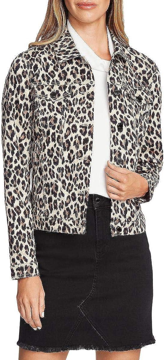 Vince Camuto Womens Denim Leopard-Print Denim Jacket Black XXS