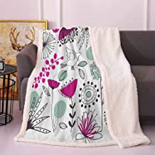 Floral Full Size Blanket Doodle Flowers and Animals Cartoon Style Drawing Spring Season Theme Frozen Blanket Reseda Green Magenta Black 50