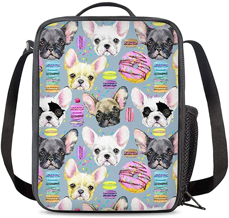 KiuLoam Cute Macaron Pug Dog Kids Small Lunch Box Children S Insulated Lunch Bag With Zipper Shoulder Strap Cooler Lunch Tote For Boys Girl Preschool Office Picnic