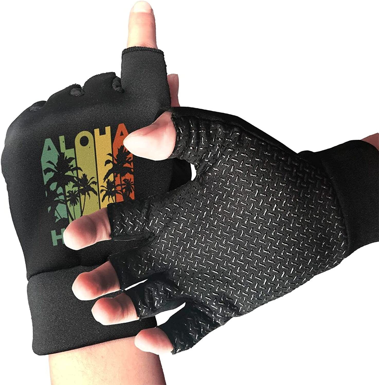 Vintage Hawaii Graphic Non-Slip Working Gloves Breathable Sunblock Fingerless Gloves For Women Men