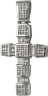 8.30ct Diamonds 18K White Gold Heavy Large Chunky Cross Pendant - 3