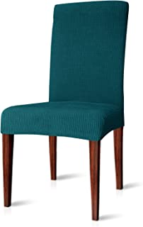 CHUN YI Dining Chair Covers Stretch Jacquard Polyester Spandex Anti-Stain Washable Dining Room Parsons Chair Slipcovers (2pcs, Teal)