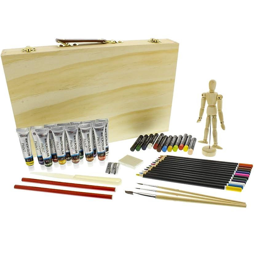 US Art Supply 46-Piece Watercolor Painting Set Wood Storage Case, Watercolor Colors, Colored Pencils, Oil Pastel Sticks, Graphite Pencils, Artist Brushes, Manikin, Palette Knive, Pencil Sharpener