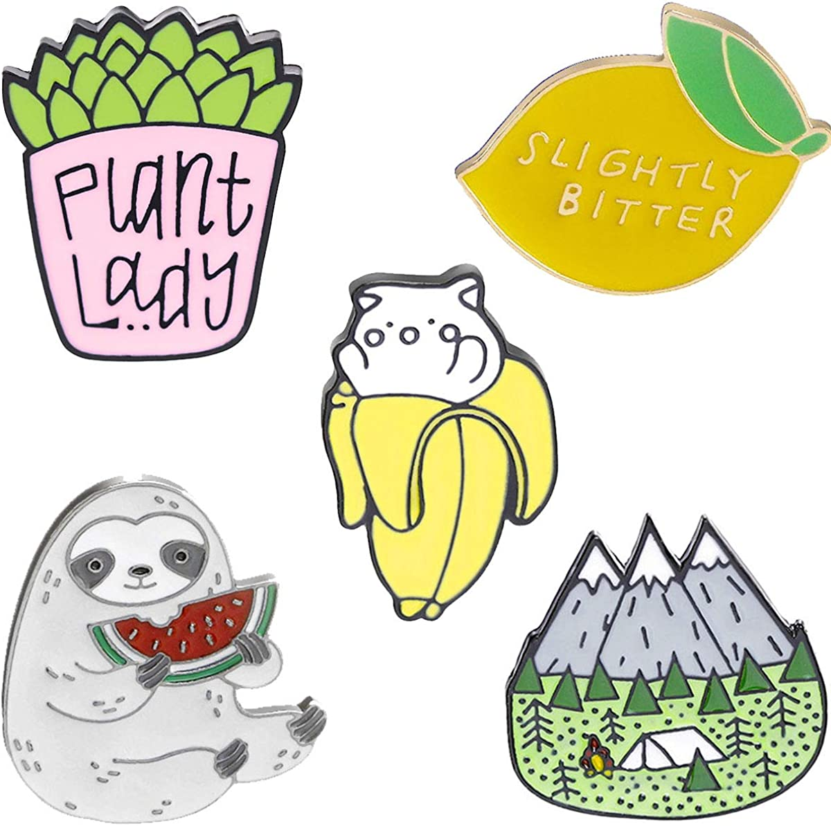 Cute Colorful Enamel Brooch Pin Set, 5 pcs Lovely Pins Badges for Girls Boys Women Clothes Backpacks Decor …