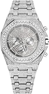 MLHXHX Reloj de Moda para Hombres Hip Hop Full Diamond Diamond True Three-Eye Octagonal Dial Dial Thilz Hearpable, Adecuad...