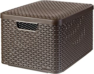 CURVER | Rangement Style Aspect rotin L + couvercle, Chocolat, Storage Others, 44,5x33x24,8 cm