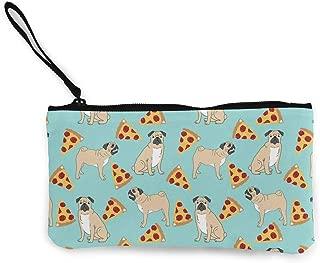 MODREACH Women and Girl Funny Vector Dogs Pug Puppies Pattern Pizza Canvas Coin Purse Zipper Pouch Wallet for Cash Bank Car Passport Coin