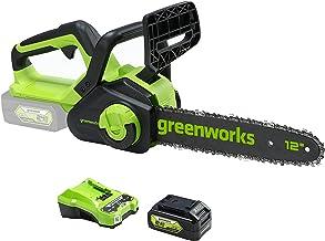 Greenworks Cordless Chainsaw G24CS30 (Li-Ion 24V, 7.8 m/s Chain Speed, 30 cm Guide Bar Length, Automatic Chain Lubricatio...