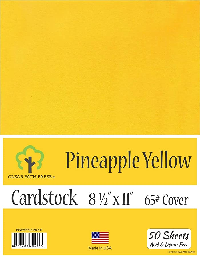 Pine Apple Yellow Cardstock - 8.5 x 11 inch - 65Lb Cover - 50 Sheets