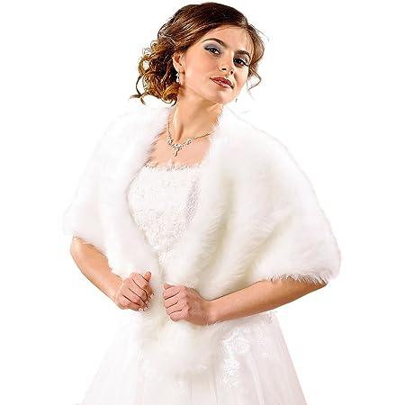 Old DIrd Damen Winter Kunstpelz Hochzeit Braut-Verpackungs-Schal Cape Umhang Abendjacke