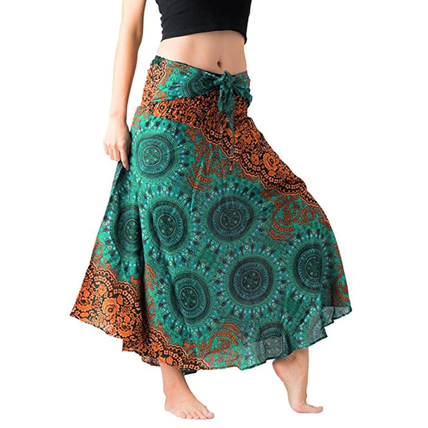 TOPUNDER Maxi Skirts for Women Long Hippie Bohemian Gypsy Boho Flowers Elastic Hlater Skirt