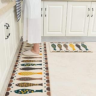 youta Non-Slip Kitchen Mat 2 Piece Absorbent Kitchen Rugs Non-Skid Backing Door Bath Mat for Bathroom Kitchen Entry 18