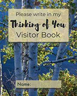 Please write in my Thinking of You Visitor Book: Forest trees cover | Visitor record and log for the chronically ill or ho...