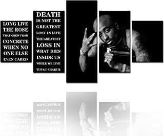 Tucocoo Shakur Portrait Pictures Makaveli Paintings Black and White Wall Art 5 Piece Canvas Simple and Clean Artwork Home ...