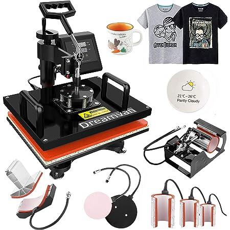 Digital LED Timer 360/° Tshirt Press Machine Combo Heat Press 8 in 1 t Shirt Maker Swing Away Shirt Printing Machine for T-Shirts Hat//Cap Mug Plate Heat Transfer Machine 12X15-950W