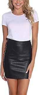 GUANYY Women's Faux Leather Vintage High Waist Classic Slim Mini Pencil Skirt