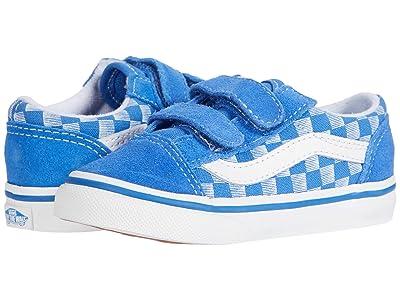 Vans Kids Old Skool V (Infant/Toddler) ((Racers Edge) Blue/True White) Boys Shoes