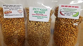 Soy Nuts Signature Flavored 3 pack Combo Wasabi Bacon BBQ and Chili Lime