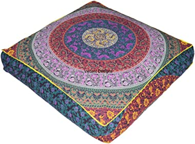 EXCLUSIVE Indian Square Urban Mandala Design Floor Pillow Cover Ottoman Pouf Cushion Case Hippie Meditation Throw Outddor Bed Dog/Pets Bed