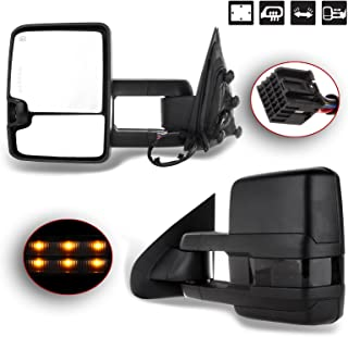 SCITOO for Chevy GMC Towing Mirrors Black Rear View Mirrors for 2014-2018 Chevy Silverado/GMC Sierra 1500 2015-2018 Chevy Silverado/GMC Sierra2500 HD 3500HD with Power Heated Signal Backup Light