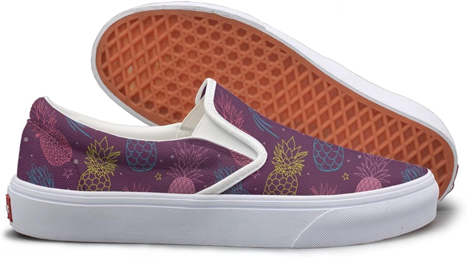 Pineapple Party Purple Summer Tropical Womens Slip On Sneakers