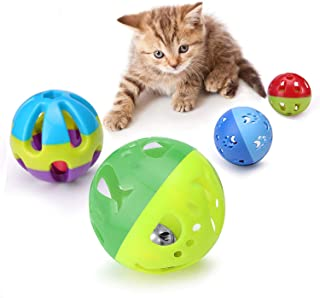 LUCKITTY Cat Plastic Ball Toys with Jingle Bell