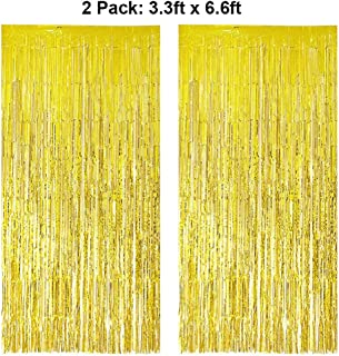 Foil Fringe Curtains Metallic Tinsel Gold Fringe Curtain Photo Booth Backdrop Curtains Decoration for Christmas New Years Eve Birthday Wedding Bachelorette Party Tassel Decor 2 Pack 3.3ft x 6.6ft