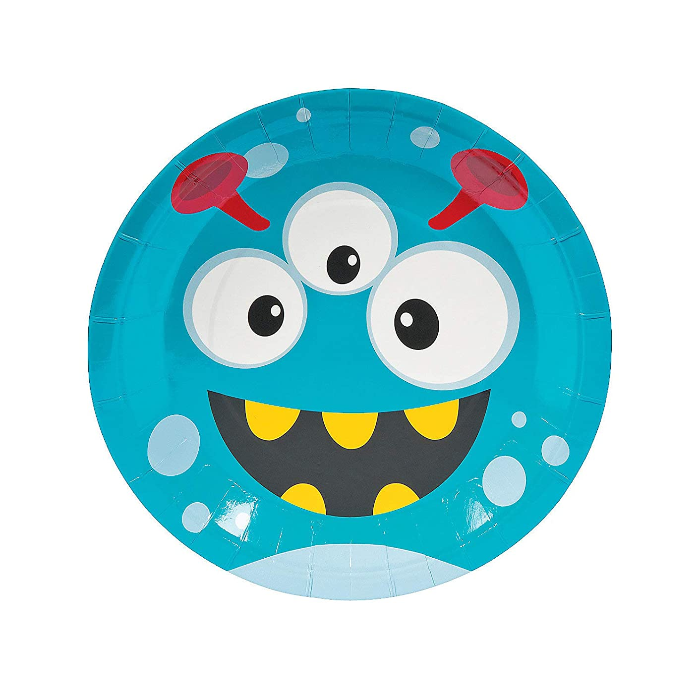 Fun Express - Mini Monster Dinner Plate (8pc) for Birthday - Party Supplies - Print Tableware - Print Plates & Bowls - Birthday - 8 Pieces