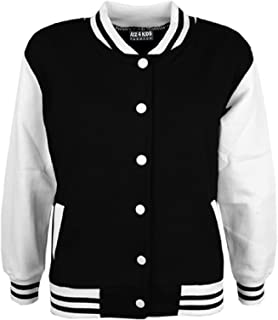 Kids Girls Boys Baseball Jacket Varsity Style Plain School Jackets TOP 2-13 Year