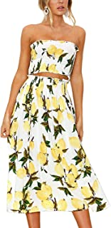 Yeshire Women's Sleeveless Floral Crop Top and Maxi Skirt Sets 2 Piece Outfit Dresses