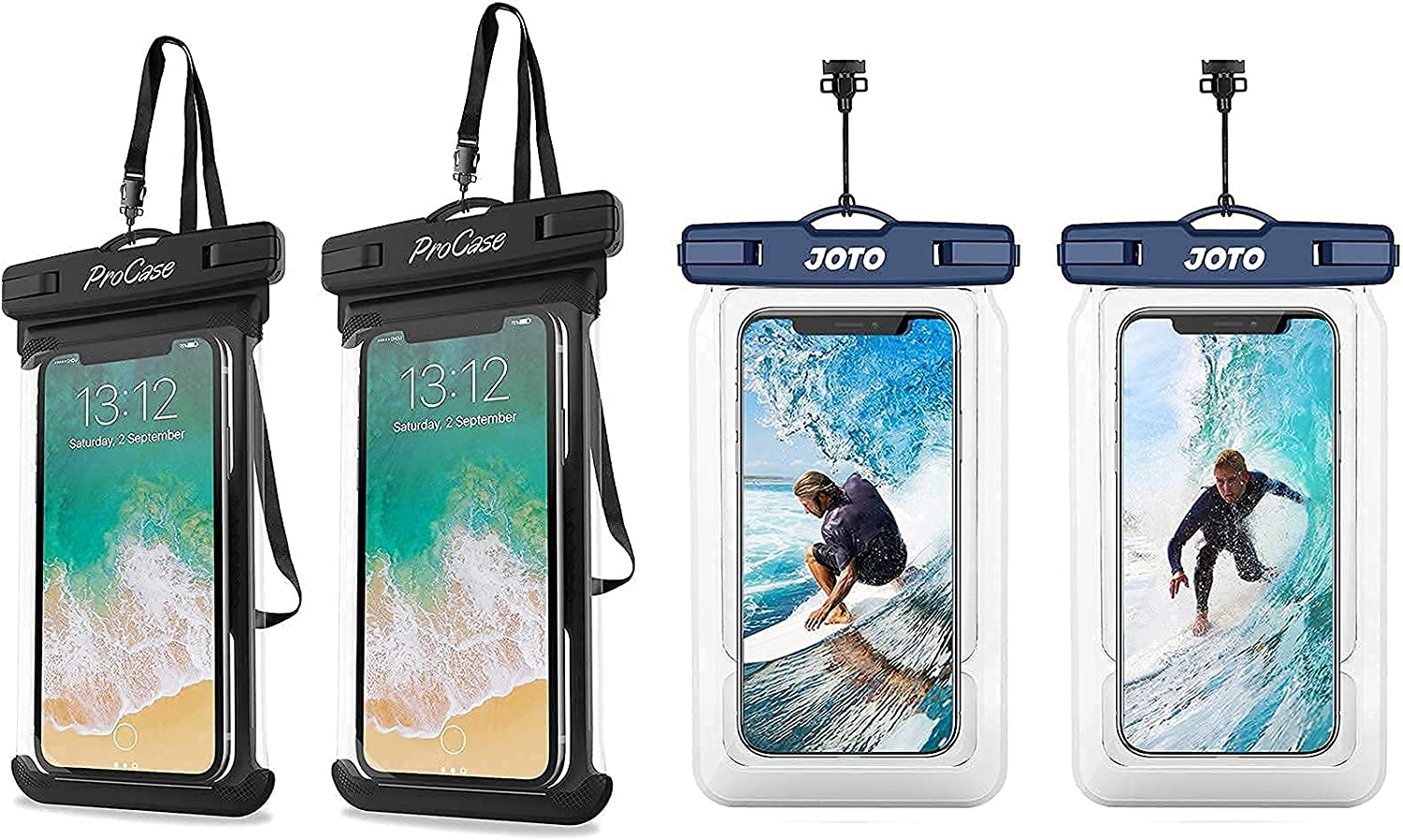 ProCase Universal Waterproof Case Cellphone Dry Bag Bundle with JOTO Floating Waterproof Phone Pouch