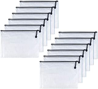 OAIMYY A5-Plastic Zipper Pen File Document Folders Pockets Bags, 12-Piece,Black