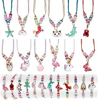LUNEKUCK 24 Pcs Bracelet Collier pour Petite Fille Bijoux Fantaisie Cadeaux Anniversaire Enfant - Bracelet Amitié Collier ...