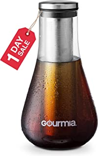 Gourmia GCM9850 Cold Brew Coffee Maker Gourmet Iced Coffee Maker With Removable Steeping Column, Airtight Design For The Freshest Brew 1.5 Liter Capacity