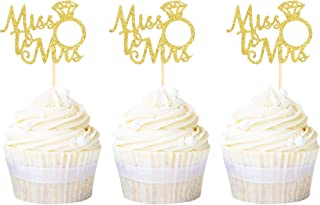 Ercadio 24 Pack Gold Miss to Mrs Cupcake Toppers Ring Cupcake Picks Decorations for Bridal Shower Wedding Engagement Anniv...