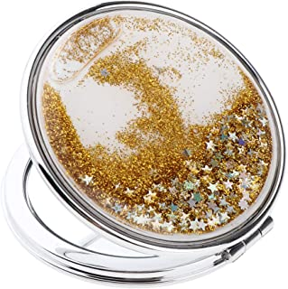 Blesiya Pretty Shinny Starry Compact Cosmetic Mirror Elegant Pocket Small Makeup Foldable Mirror for Travel or Purse, Golden