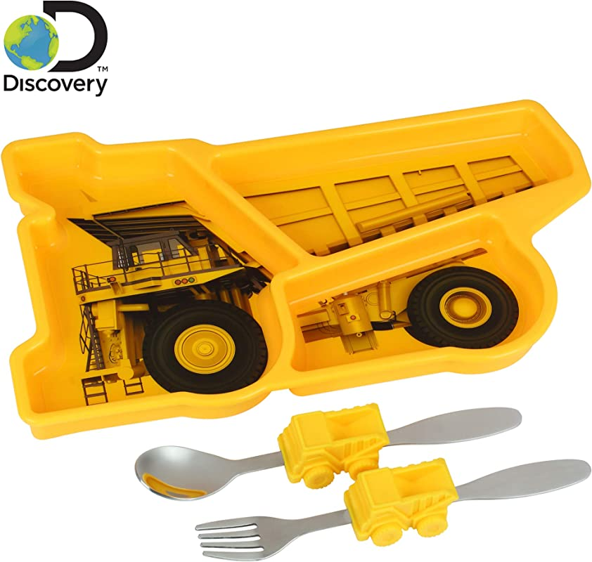 Discovery Earth Mover Meal Builder 3 Piece Set For Kids Toddlers Construction Themed Plate Fork Spoon Perfect For All Meals Snacks Promotes Portion Control Dishwasher Microwave Safe