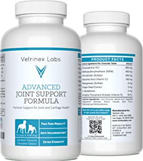 Vetrinex Labs Glucosamine Joint Supplements for Dogs – Beef Flavored, Chewable Tablets with Chondroitin and MSM, for Large & Small Dogs, Vet Approved (120 Count)