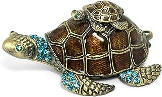 Waltz&F Turtle Trinket Jewelry Box with Sparkling Light Green Crystals,Hinged Trinket..