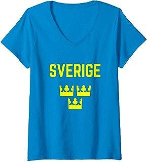Womens Sweden Womens 2019 World Soccer   V-Neck T-Shirt