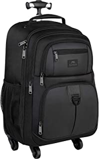 Rolling Backpack for Travel, 4 Wheels Laptop Backpack for Women Men, Water Resistant Business Large Wheeled Backpacks Fits...