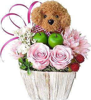 誕生日プレゼント 女性 花 プレゼント 誕生日プレゼント女性 人気 誕生日 花 プレゼント 女性 プリザーブドフラワー バラ フラワーアレンジメ ント トイプードル茶色